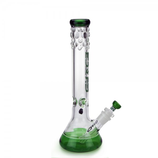 Beaker Bong with Ice Notch and Bubble Accents Green