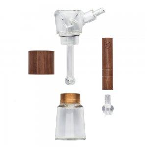 Glass and walnut wood bubbler