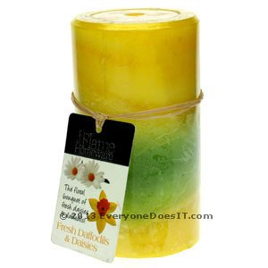 Scented Candle 5u201d - Fresh Daffodils and Daisies