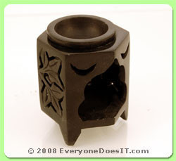 Soapstone Oil Burner Small Hexagonal Leaf Jali