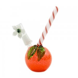 3.5 Inch Tangerine bubbler with straw mouth piece