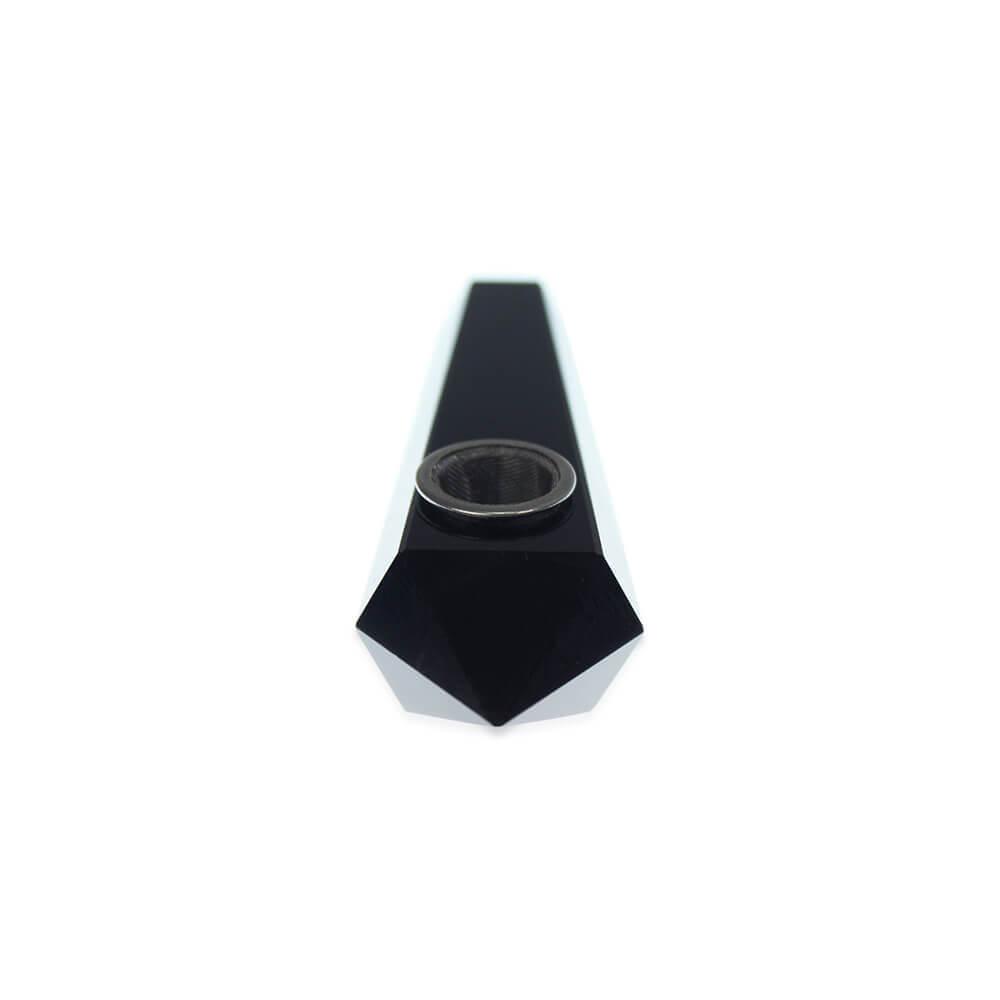 """4""""  Handmade Crystal Herb Pipe - Obsidian Black"""