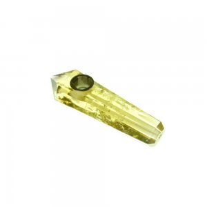 "4""  Handmade Crystal Herb Pipe - Yellow Citrine"