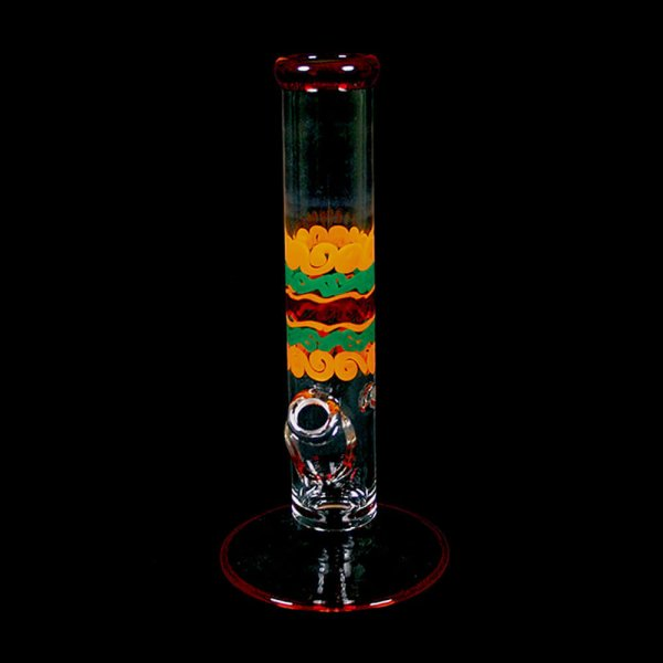 Color Cane and Fume Straight Bong with Ice Pinch