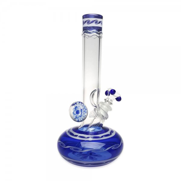 Wave design Micro Round Base Bubble Bong with Ice Pinch and Marble