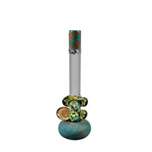 Large Round Base Bong with Coiled Color and Deco Marbles